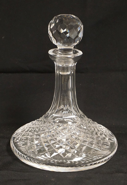 WATERFORD CRYSTAL SHIPS DECANTER WITH STOPPER. 9 3/4 INCHES HIGH.