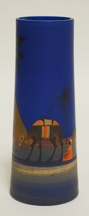 CZECHOSLOVAKIAN ART GLASS VASE DECORATED WITH AN ARABIAN SCENE. 6 1/4 INCHES HIG