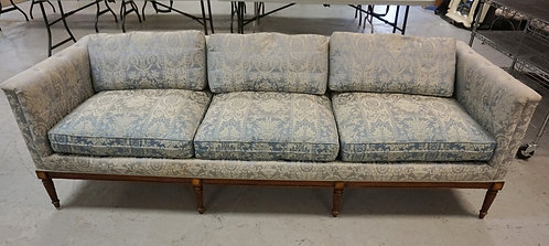 W & J SLOAVE UPHOLSRERED SOFA WITHFLUTED LEGS. APP 89 IN WIDE