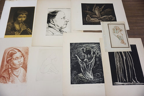 LOT OF 8 PRINTS/ETCHINGS. SOME PENCIL SIGNED. LARGEST IS APPROX 9 X 12 INCHES.