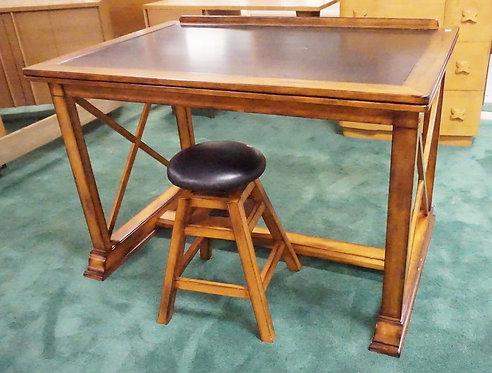 DRAFTING TABLE WITH ADJUSTABLE BENCH. 49 X 33 1/2 INCH TOP.