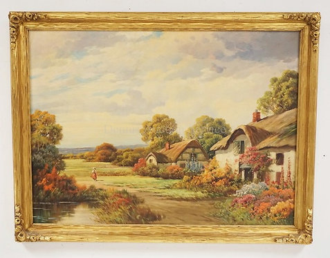 OIL PAINTING ON CANVAS OF A COLORFUL EUROPEAN LANDSCAPE WITH COTTAGES. SIGNED *A