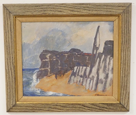 PAUL MOMMER ABSTRACT GOUACHE ON PAPER OF A ROCKY SHORELINE. SIGNED LOWER RIGHT.