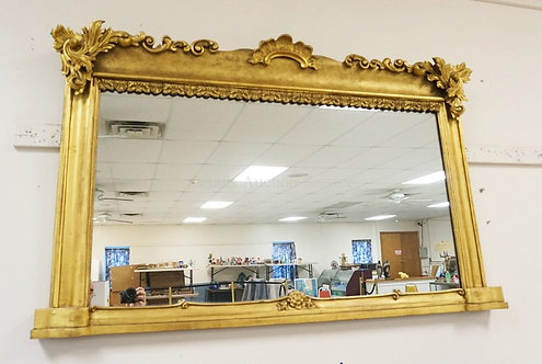 ORNATE GOLD GILT MIRROR WITH APPLIED GESSO FOLIATE & SHELL. 53 1/4 X 33 1/4 INCH