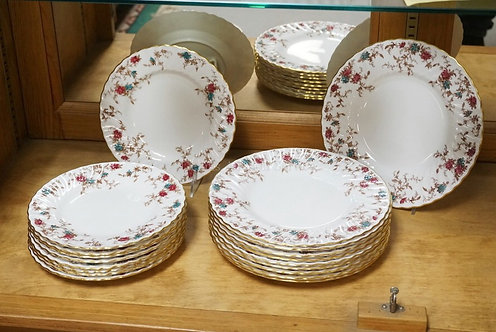 19 PIECES OF MINTON *ANCESTRAL* DINNERWARE. TEN 9 INCH PLATES AND NINE 7 3/4 INC