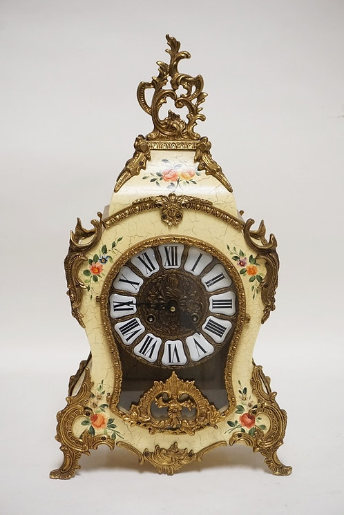GERMAN PAINT DECORATED MANTEL CLOCK. 22 1/2 INCHES HIGH.