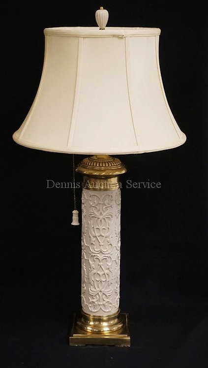 LENOX PORCELAIN TABLE LAMP WITH LENOX SHADE. 33 3/4 INCHES HIGH.