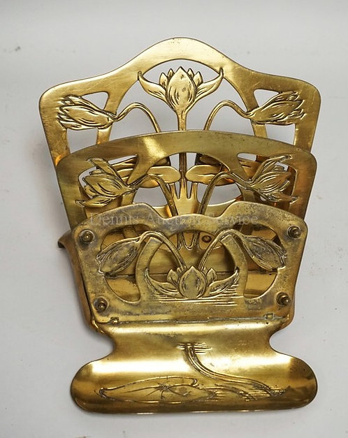 NOUVEAU BRASS LETTER & PEN STAND MEASURING 4 1/2 INCHES HIGH & 6 1/2 INCHES WIDE