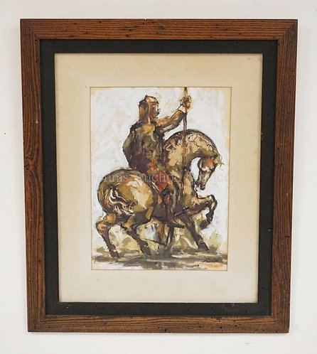 CARLES BURDICK INK AND ACRYLIC ON PAPER OF A WARRIOR ON HORSEBACK. 11 1/2 X 15 1