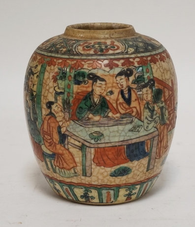 CHINESE JAR WITH POLYCHROME DECORATION OF FIGURES ENCIRCLING THE JAR. NO LID. DR