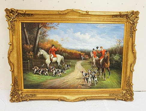 VERY LARGE CONTEMORARY OIL PAINTING ON CANVAS OF A HUNT SCENE. 70 X 47 INCH SIGH