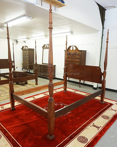 QUEEN SIZE CHERRY HIGH POSTER BED WITH CARVED POSTS.