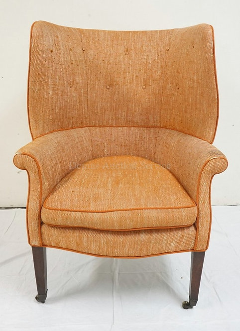 PERIOD ANTIQUE BARREL BACK WING CHAIR. 46 INCHES HIGH. 32 1/2 INCHES WIDE.