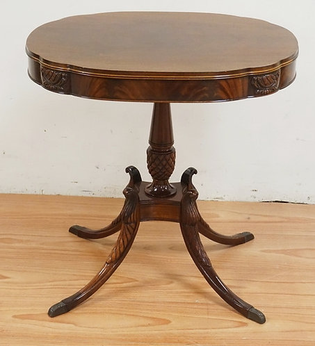 MAHOGANY LAMP TABLE WITH A FLAME MAHOGANY SKIRT. CARVED PEDESTAL & LEGS. 28 INCH