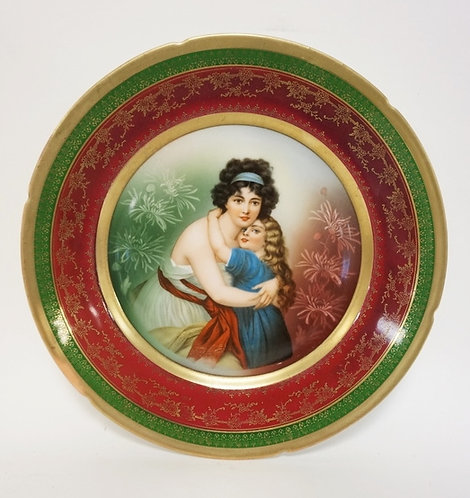 IMPERIAL ALMA, PSL PORTRAIT PLATE, MOTHER AND CHILD. 9 5/8 IN