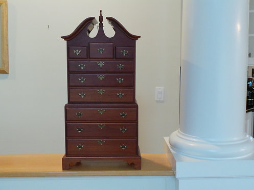 DIMINUTIVE 2 PIECE HIGHBOY WITH BRACKET FEET. 27 3/4 INCHES HIGH. 13 1/2 INCHES