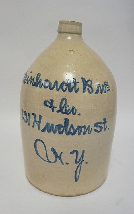 STEINHARDT BROS & CO 121 HUDSON ST, N.Y. 3 GALLON BLUE SCRIPT DECORATED STONEWAR