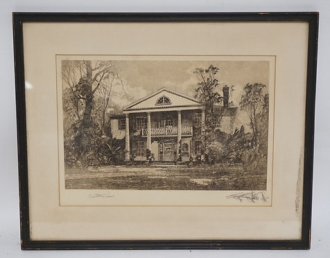 ROBERT SHAW (AMERICAN, 1859-1912) ENGRAVING OF A STATELY HOME. PENCIL SIGNED LOW
