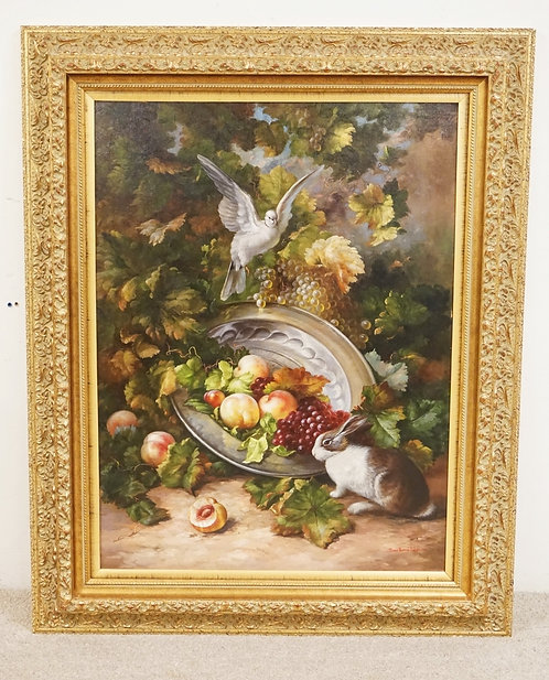 OIL PAINTING ON CANVAS OF A RABBIT AND A DOVE BY A BOWL OF SPILLED FRUIT. 41 3/4