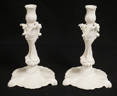 PAIR OF KPM PORCELAIN CANDLESTICKS. 10 1/8 INCHES HIGH.
