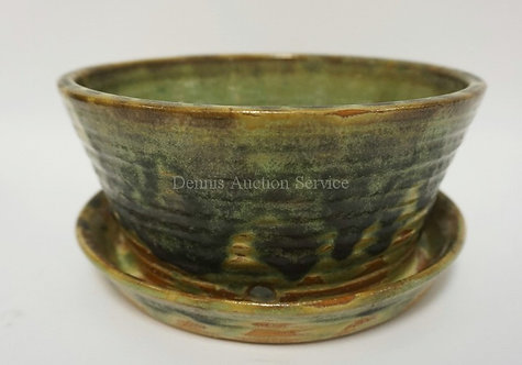 SIGNED FULPER GREEN GLAZED FLOWER POT WITH FACTORY DRAIN HOLES AND ATTACHED UNDE