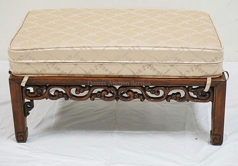 CARVED ASIAN HARDWOOD BENCH. SOME LOSSES. 17 1/8 X 31 1/8 X 10 3/4 INCHES.