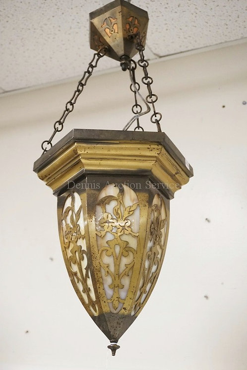 HANGING SLAG GLASS FIXTURE FLORAL CUTWORK PANELS. APPROX 25 INCHES LONG.