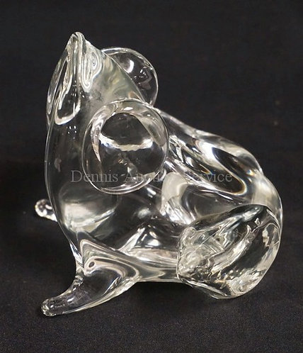 LICO ZANETTI MURANO ART GLASS FROG IN CLEAR. ARTIST SIGNED ON THE BOTTOM. 4 5/8