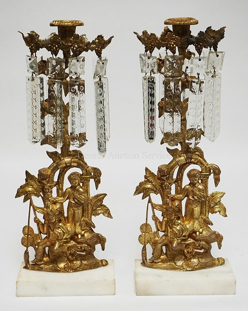PAIR OF GILT BRONZE GIRANDOLES DEPICTING 2 BOYS WITH THEIR DOG AND A FISH HANGIN