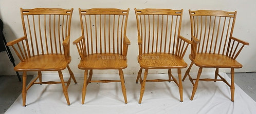 SET OF 4 ZIMMERMAN (USA) BUTTERNUT SPINDLE BACK ARM CHAIRS