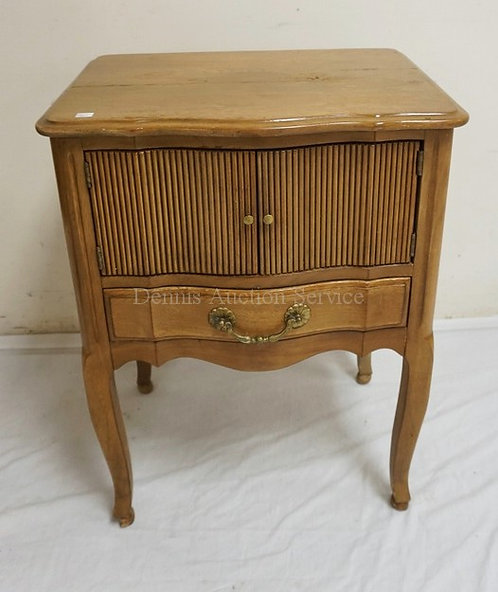 DAVIS FURNITURE WALNUT NIGHTSTAND WITH A 2 DOOR CABINET OVER A DRAWER. LIGHTER F