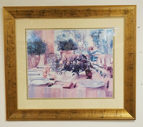 LARGE DECORATIVE PRINT OF A TABLE SET FOR DINING. PROFESSIONALLY FRAMED AND MATT