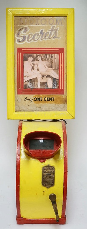 VINTAGE IRON COIN-OP MUTOSCOPE REEL MACHINE WITH A *BEDROOM SECRETS* PIN-UP MARQ