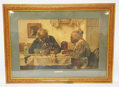 LITHOGRAPH TITLED *A PENNY SHORT*. 21 3/4 X 13 3/4 INCH IMAGE. MATTING HAS SOME