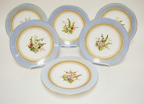 6 PCS HAND PAINTED ROYAL WORCESTER. 5 PLATES MEASURING 9 1/4 INCHES IN DIA AND A