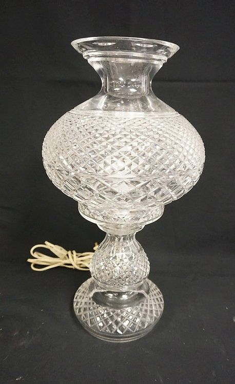 SIGNED WATERFORD LARGE CUT CRYSTAL LAMP. 18 3/4 IN H.