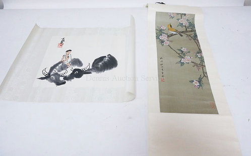 2 PC ORIENTAL ART; SCROLL W/BIRD & FLOWERS (10 IN X 35 IN) & A CHILD RIDING A WA