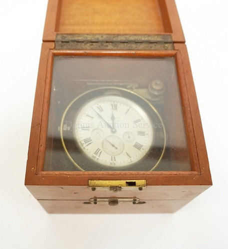 WALTHAM 8 DAY NAUTICAL CLOCK IN WOODEN CASE. 5 IN SQUARE, 4 7/8 IN H