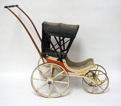 ANTIQUE VICTORIAN DOLL CARRIAGE WITH CANOPY (HAS CRACKS AND TEARS). 28 1/2 INCHE