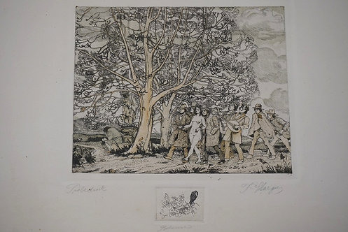 1281_HAND COLORED ETCHING. PENCIL SIGNED AND TITLED. A GROUP OF MEN LEADING A NU