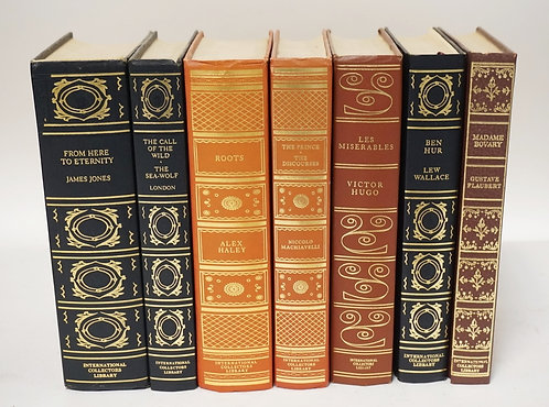 LOT OF 7 INTERNATIONAL COLLECTORS LIBRARY LEATHERBOUND AND GOLD GILT BOOKS.