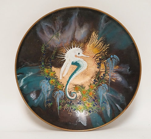 ENAMEL DECORATED COPPER BOWL FEATURING A SEAHORSE. SIGNED *ELLY*. 8 5/8 INCH DIA