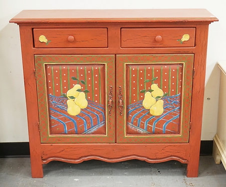 PAINT DECORATED CUPBOARD HAVING 2 DRAWERS OVER 2 DOORS. DECORATED WITH PEARS. 40