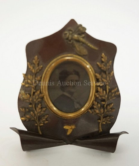 GILT & PATINATED BRONZE PHOTO FRAME ADORNED WITH A DRAGONFLY, LEAFY BRANCHES, AN