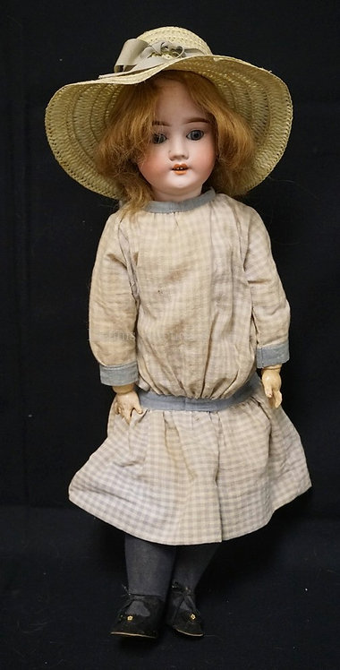 24 INCH SPECIAL GERMAN BISQUE HEAD DOLL, COMPOSITION BJ BODY, NEW WIG/OLD UNDERW