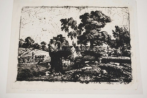 DEMARNE ETCHING. PENCIL SIGNED & TITLED. 8 X 5 7/8 INCH IMPRESSION.