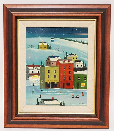 STEVE KLEIN FOLK ART OIL PAINTING ON BOARD OF A SNOW COVERED TOWN AT DUSK. 7 1/2