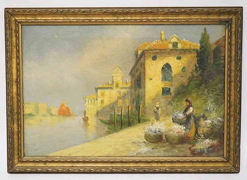 OIL PAINTING ON CANVAS OF A VENICIAN SCENE WITH WOMEN WITH BUSHELS OF FLOWERS BY