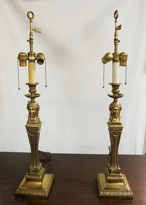 PAIR OF HEAVY TABLE LAMPS BY WARREN KESSLER, NEW YORK. CLASSICAL FEMALE BUSTS AT