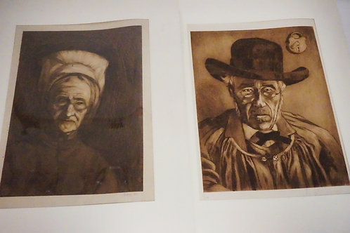 PAIR OF ANTIQUE ETCHINGS. EACH EDITION #3 OF 10. PENCIL SIGNED. 15 X 19 1/2 INCH
